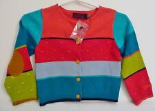 Catimini New Girl's Colorful Cardigan 100% Cotton Sweater Size 2 Retail $110.