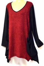 plus sz XS / 14 TS TAKING SHAPE Boucle Jumper soft draping ruby red winter NWT!