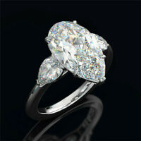 925 Silver Pear Cut White Sapphire CZ Wedding Ring Luxury Engagement Jewelry