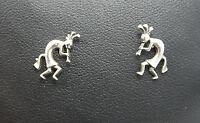 Sterling Silver Dancing Kokopelli Stud Earrings