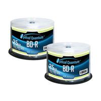 100 Optical Quantum 4x 25GB Blue Blu-ray BD-R Logo Top Blank Disc OQBDR04LT-50