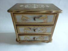 Vintage Italian Style Florentine Gold & Cream 3-Drawer Jewelry Music Box c.1960