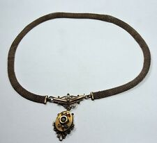 """Antique Victorian Yellow Gold GF Necklace w/ Pearls Mesh Chain 19 1/2"""" long Z502"""