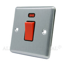 Brushed Satin Chrome Classical 45A Cooker DP Switch w/ Neon - CSCCSWBL