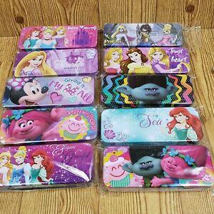 2 DISNEY Princess Zombie Trolls MinnieMouse pencil case metal Ariel Aurora Belle