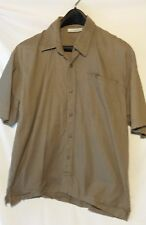 Adolfo Mens Green Shirt L Button Front Short Sleeve Large Cotton