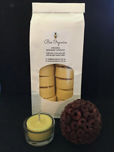 24 Australian Handmade Organic Beeswax Tealight Candles Natural Scent NO FUMES