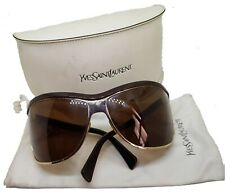 Authentic YSL Vintage Women's Sunglasses Gold Logo Oversized Shield