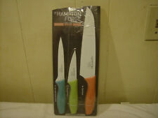 HAMPTON FORGE 3 PC. KNIFE SET / CHEF, PARER & UTILITY /CERAMIC COATED BLADES NEW