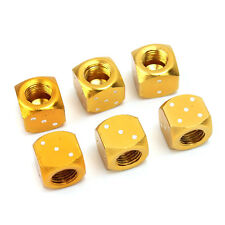 New 6 pcs Gold Tone Dice Bike Car Truck Tire Wheel Stem Air Valve Dust Caps BH