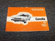 1983 Toyota Corolla Sedan Owner Owner's Operator User Guide Manual DX 1.6L