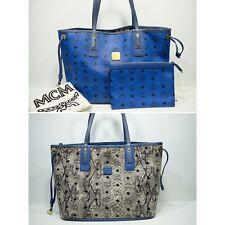 100% Authentic MCM Blue Visetos *Reversible* Shopper Shoulder Bag  + Pouch