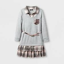 Zenzi Girls Roll Sleeve Drop Waist Plaid Ruffle A Line Dress Heather Grey Size 4