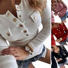 Damen Freizeit Langarmshirt Tops Slim Fit V-Ausschnitt T-Shirt Blusen Oberteile