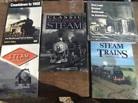Lot of 5 Hardcover Railroad books -  Steam steam classic power free shipping