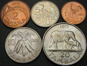 MALAWI 1, 2, 5, 10, 20 Tambala 1971/1973 - 5 coins - 3015 ¤