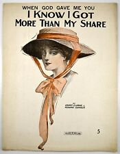When God Gave Me You I Know I Got More Than My Share Sheet Music 1916 Antique