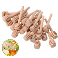 2/10X 8cm Wooden Jam Honey Dippers Wood Stirring Rod Stick Syrup Spoon Wholesale