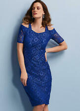 Versatile Cobalt Blue Lace Overlay Cold Shoulder Fitted Dress Size 12 Petite