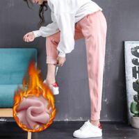 Women Drawstring Thermal Lined Sweatpants Harem Trouser Winter Warm Pants Jogger