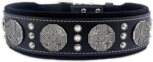 Bestia Maximus genuine leather dog collar, 2.5 inch wide. padded. Made in Europe