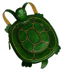 Genuine Leather Turtle Pattern Backpack,Lovely Bag and Green. Handcrafted