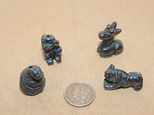 Hematite Drilled Beads Tiger Giraffe Snake Monkey Set of 4 (12082)