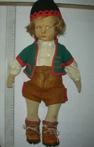 Italian Cloth Character Swiss Boy Lenci Doll Bambola 300 series Original 43cm