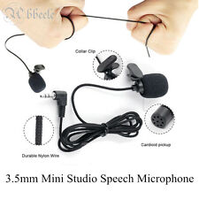 1PC 3.5mm Mini Studio Speech Microphone Mic Clip On Lapel for PC Notebook Black