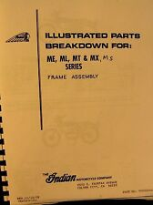 1973  Indian Motorcycle  Illustrat. Pts. Breakdown ME/ML/MT/MX/MX Frame Assembly