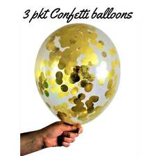 Gold Confetti Party Balloons 28cm (pkt3) - Wedding, Anniversary, Party