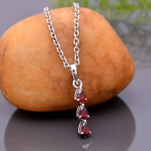 Halloween Natural Red Garnet Necklace Pear Pendant 925 Sterling Silver Jewelry