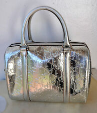 Authentic Christian Dior Silver Polochon Cannage Boston Bag Italy Sold Out! Rare