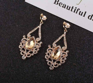 18K GOLD PLATED GOLD AUSTRIAN CRYSTAL LONG DANGLE CLIP ON STATEMENT EARRINGS