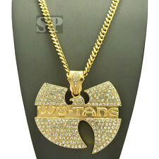 """Hip Hop Iced Out Wu Tang Pendant w/ 6mm 36"""" Miami Cuban Chain Necklace XP868GMC"""