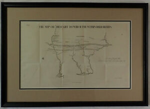 RARE Historical Framed 1853 Map Indian Deed Lands Pennsylvania 1749 PA