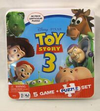 Disney Pixar Toy Story 3 Boxed Tin 5 Game + Lenticular Puzzle Set - NEW, Sealed