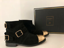 H&M BALMAIN SUEDE BOOTS BLACK-GOLD SOLD OUT LIMITED EDITION