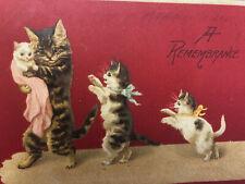 Antique Postcard Anthropomorphic Mama Cat Carriers Kitten U/S Maguire Emb Db