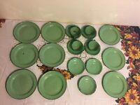 Vintage Enamelware  Green-white Specks Lot of 20 Pieces