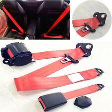 Red Retractable 3 Point Seat Belt Adjustable Extension Strap for Car Truck Buses