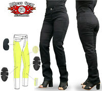 AUSTRALIAN Bikers Gear Black Ladies Motorcycle Jeans lined with DuPont™ Kevlar®