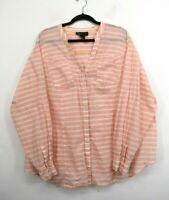 Lane Bryant Womens Button Front Patch Pocket Striped Cotton Blouse Shirt 26/28