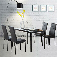 5 Pieces Dining Set Glass Metal Table and 4 Chair Kitchen Dining Room Furniture