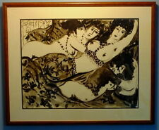 Pen and Ink of Four Women after Chagall by Franco-American Artist Laouen, 1967