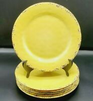 "Set Of 6 TOMMY BAHAMA Melamine Yellow Crackle Dinner Plates 11"""