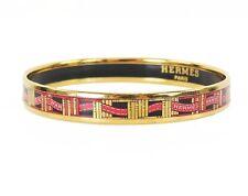 Auth HERMES Goldtone and Red Ribbon Design Enamel Bangle Bracelet PM #33973