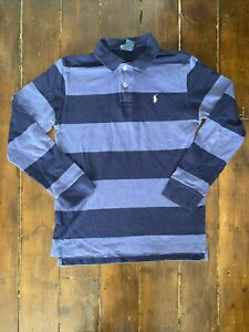 Polo Ralph Lauren Navy Striped Boys Long Sleeve Polo Shirt Size Large Age 14-16