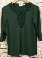 Susan Graver Tunic shirt womens XS liquid knit 3/4 slv embroidered vneck top A13