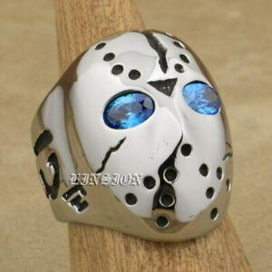 Blue CZ Eyes Halloween Jason Hockey 316L Stainless Steel Biker Ring 3F101D